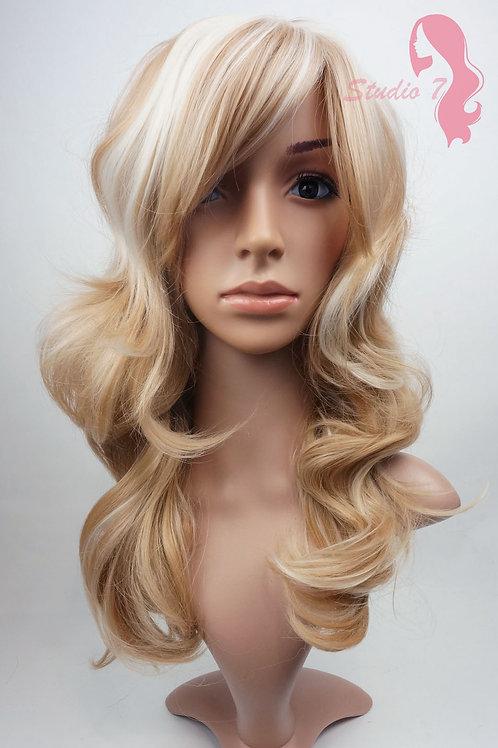 W27 Honey Blonde Bleach Blonde Highlight Wavy Synthetic Wig