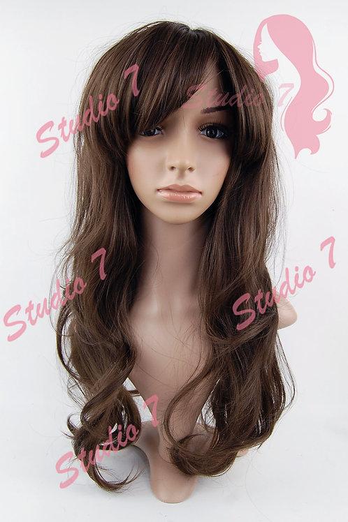 W190 Brown Ladies Long Wavy Wig