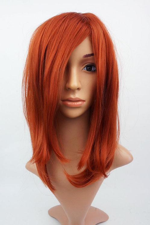 W111 Copper Red Mid Length Straight Ladies Wig