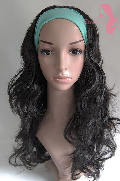 W46 Natural Black Curly 3/4 Wig Clip In Hair Piece