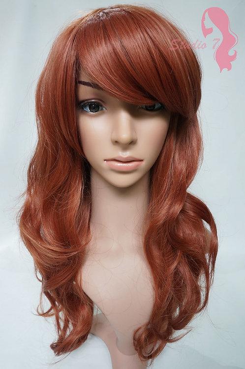 W84 Auburn Ginger Mix Long Wavy Full Wig