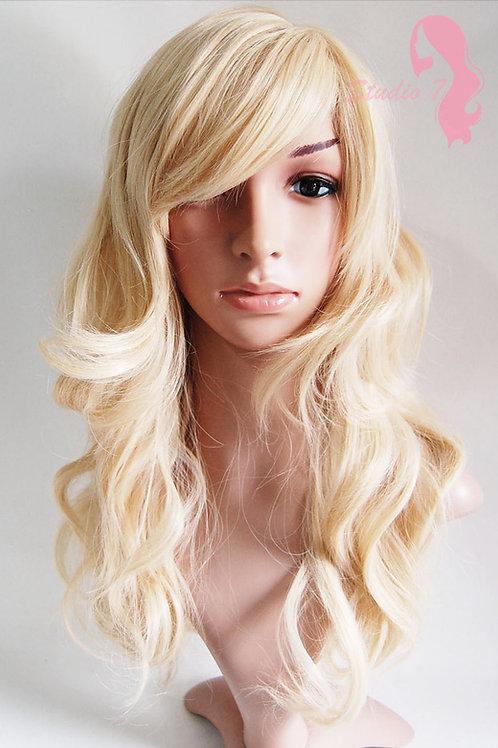 W26 Sandy Bleach Blonde Mix Long Wavy Synthetic Wig
