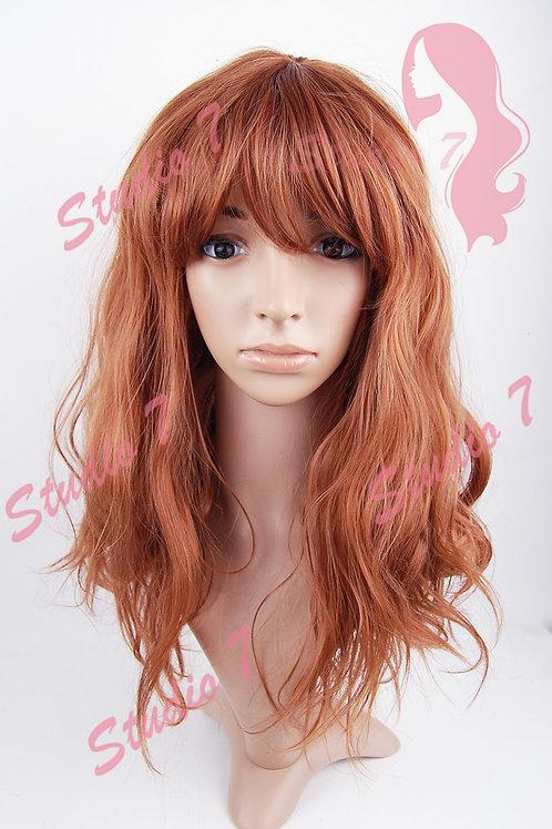 W180 Auburn Mix Medium Length Wavy Wig