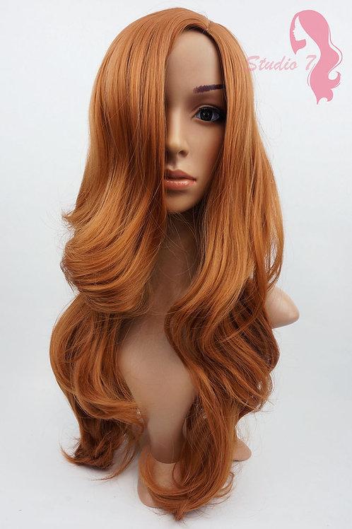 W87 Auburn Dark Ginger Long Wavy Wig