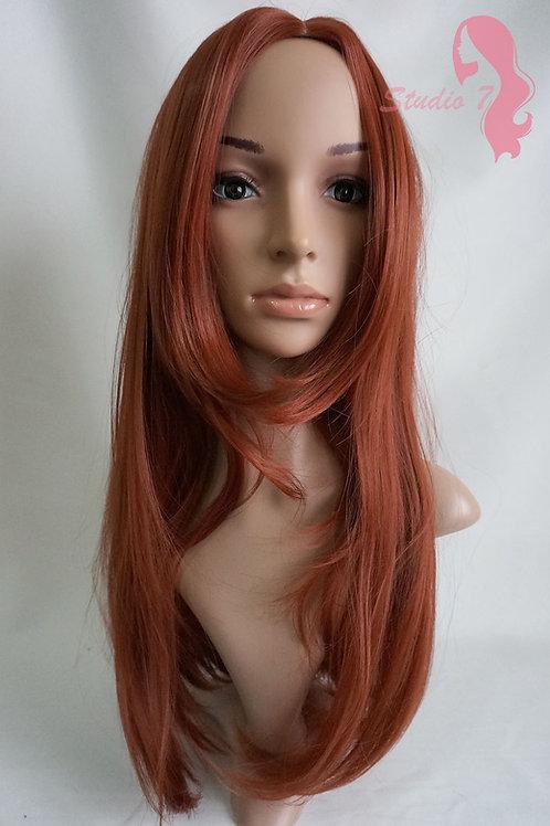 W76 Copper Auburn Long Straight Wig