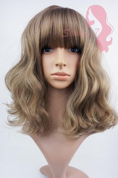 W153 Dark Blonde Mid Length Wavy Straight Fringe
