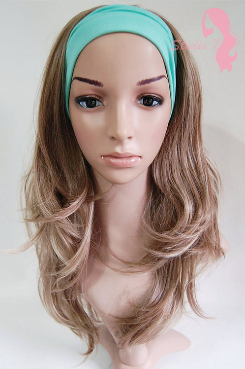 W57 Mid Brown Blonde Highligh Wavy 3/4 Wig Clip In Hair Piece