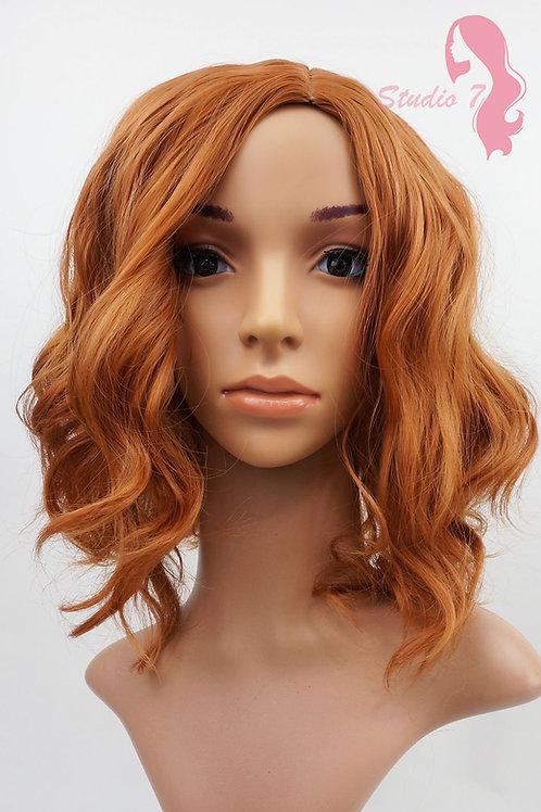 W90 Auburn Dark Ginger Short Wavy Synthetic Skin Top Wig
