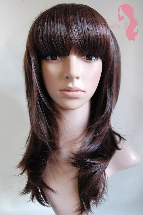 W70 Chocolate Brown Layered Straight Fringe Wig