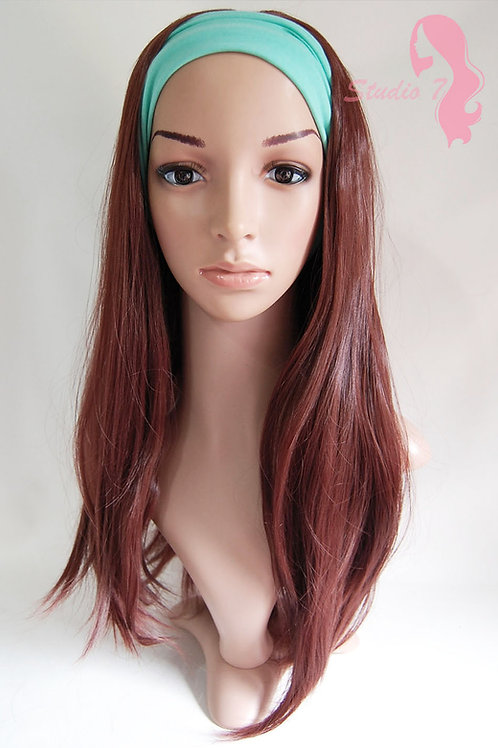 W50 Wine Red Brown Straight 3/4 Wig Clip In Hair Piece