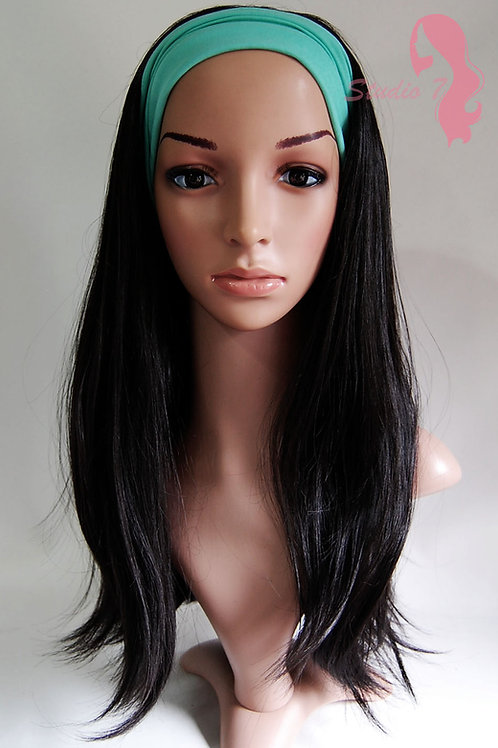 W53 Natural Black Straight 3/4 Wig Clip In Hair Piece