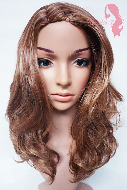 W19 Brown Blonde Mix Mid Length Wavy Natural Skin Top Wig
