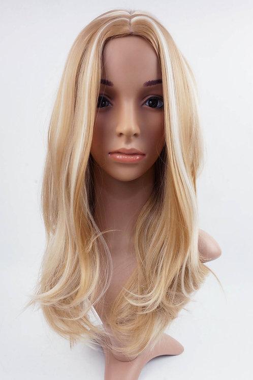 W68 Honey Blonde Mix Highlight Straight Long Wig