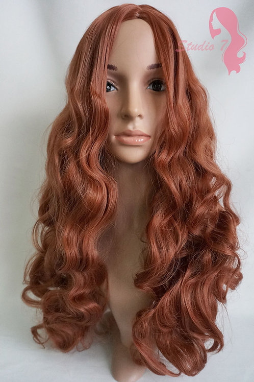 W79 Auburn Ginger Mix Extra Long Wavy Wig