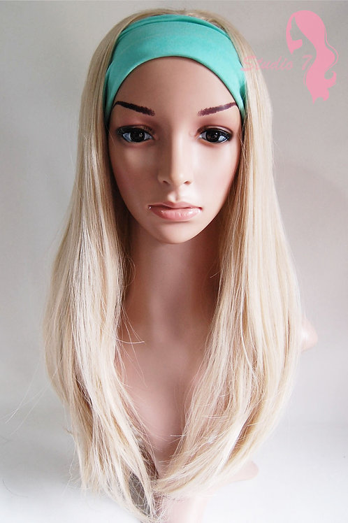 W48 Ash Blonde Mix Straight 3/4 Wig Clip In Hair Piece