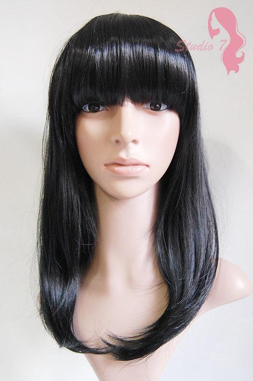 W73 Jet Black Straight Fringe Full Wig