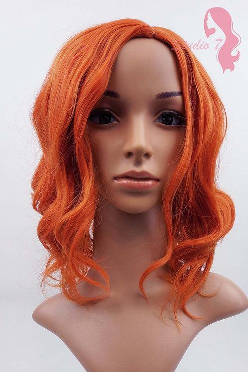 W93 Orange Shoulder Length Wavy Wig