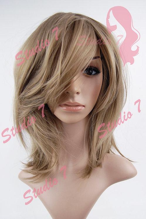 W198 Dark Caramel Blonde Mid Length Straight Wig