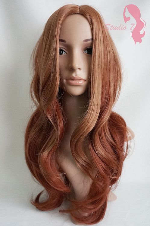 W74 Ginger Auburn Graduated Mix Long Wavy Wig