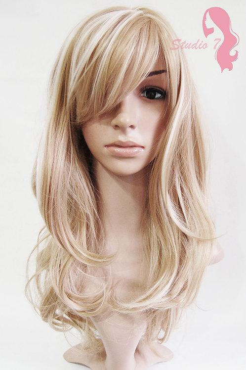 W62 Honey Blonde Highlight Long Wavy Wig