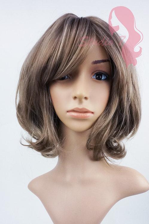 W145 Ash Brown Short Curl Wavy Wig