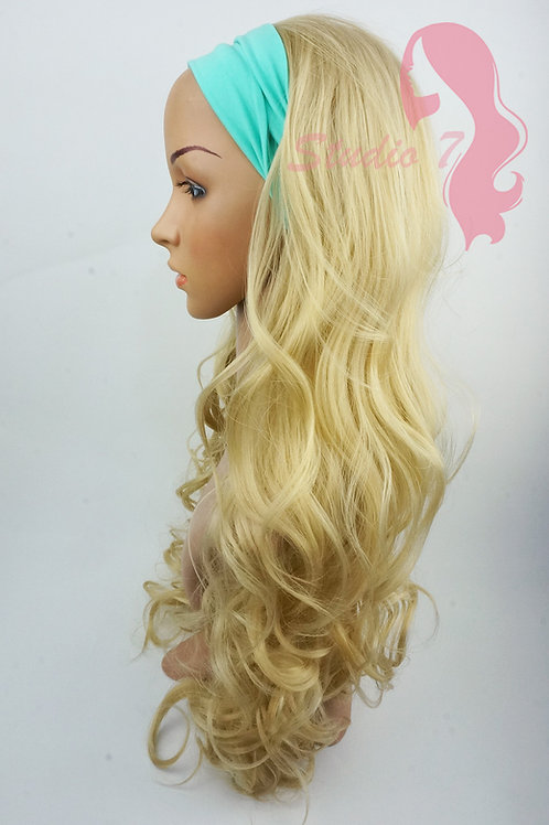 W114 Mix Bleached Blonde Curly 3/4 Wig Clip In Hair Piece
