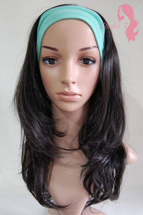 W59 Natural Black Wavy 3/4 Wig Clip In Hair Piece