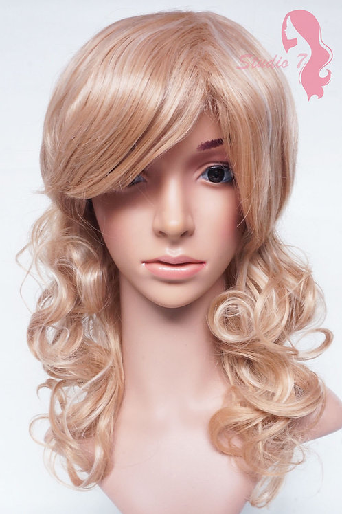 W21 Honey Blonde Mix Mid Length Wavy Natural Wig