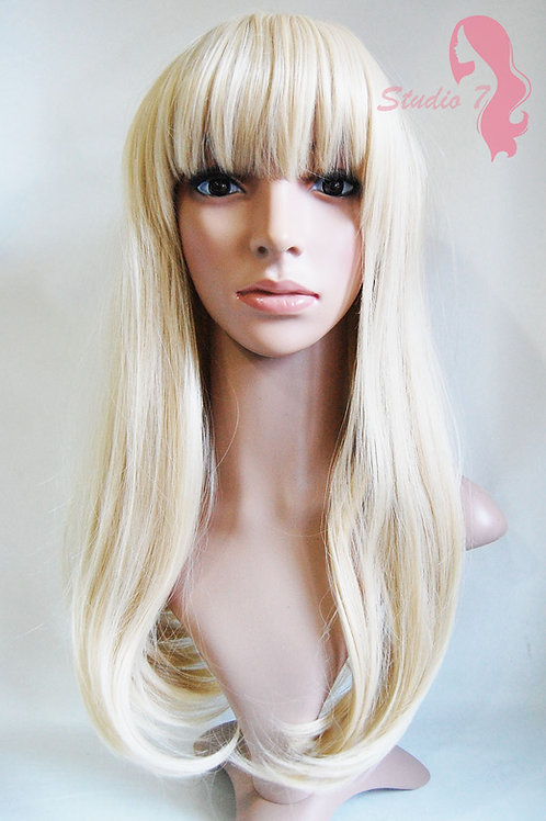 W72 Sandy Bleach Blonde Mix Straight Fringe Wig