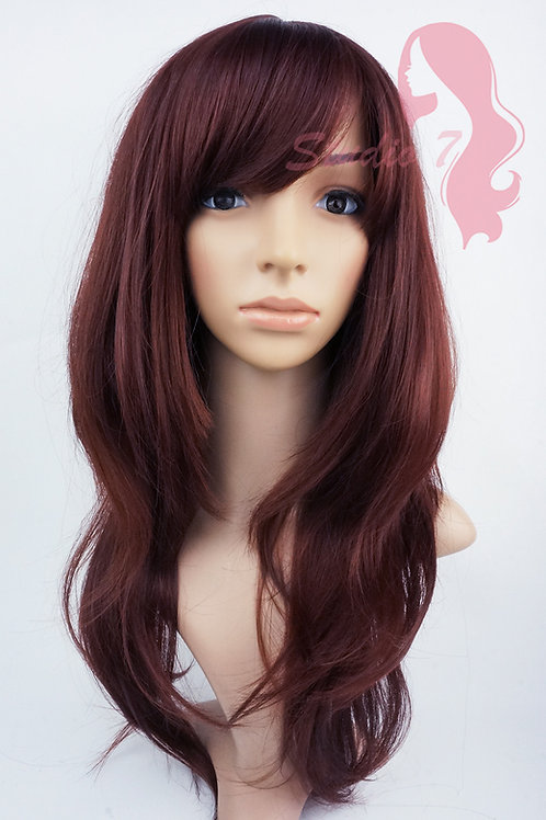 W149 Red Brown Long Layered Wig