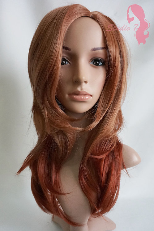 W77 Ginger Auburn Graduated Layer Long Wavy Wig