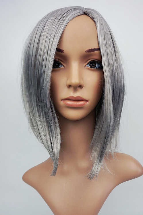 W107 Silver Grey Mid Length Bob Ladies Wig