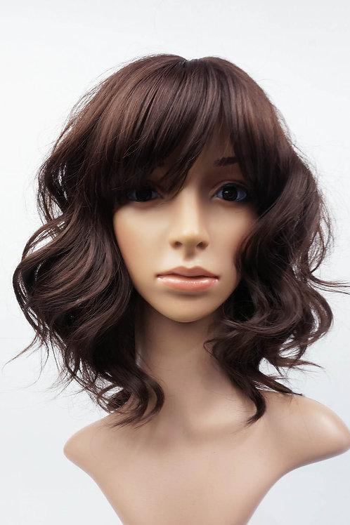 W103 Dark Brown Shoulder Length Wavy Ladies Wig