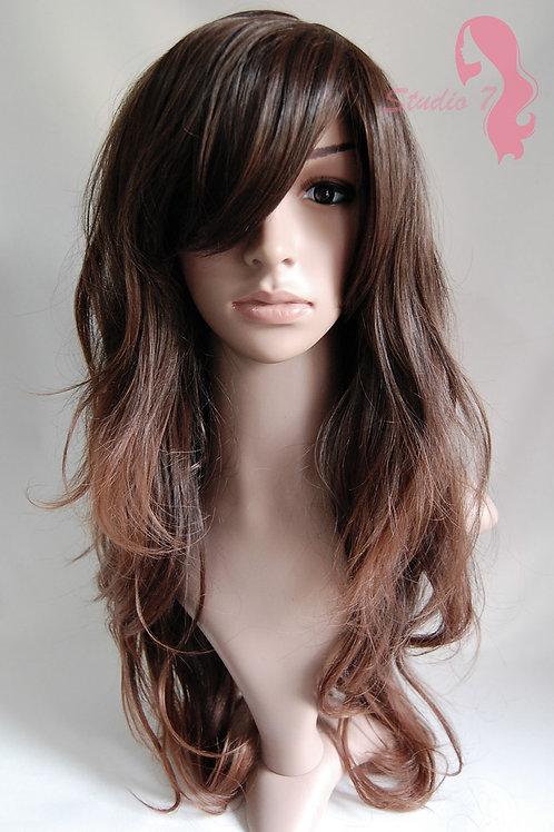 W2 Dark Brown Mix Ombre Long Wavy Skin Top