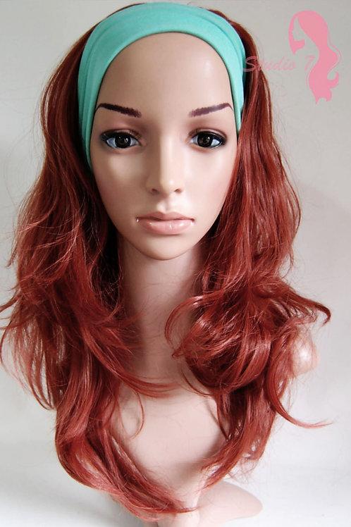W56 Dark Auburn Wavy 3/4 Wig Clip In Hair Piece