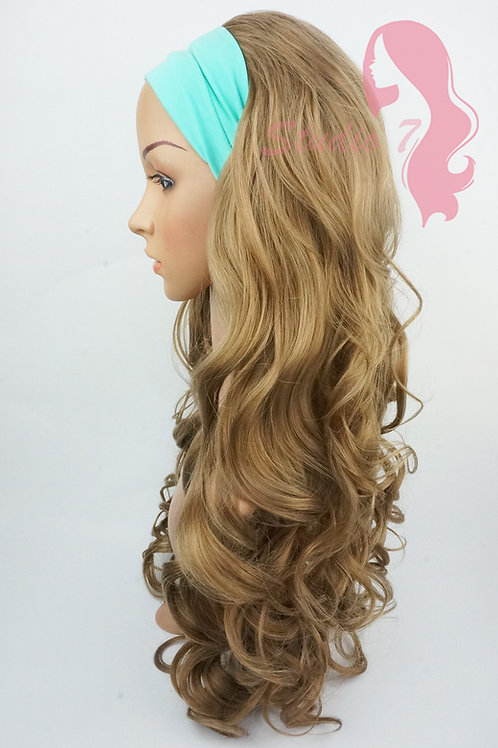 W115 Chocolate Blonde Curly 3/4 Wig Clip In Hair Piece