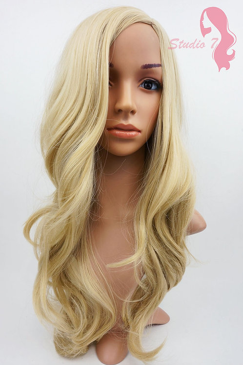 W88 Sandy Blonde Long Wavy Synthetic Skin Top Wig