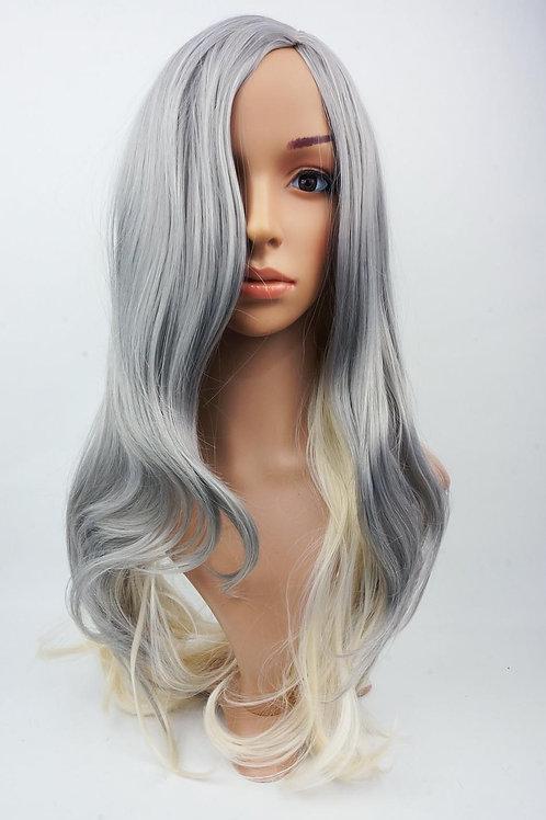 W112 Silver Grey Blonde Ombre Long Wavy Wig