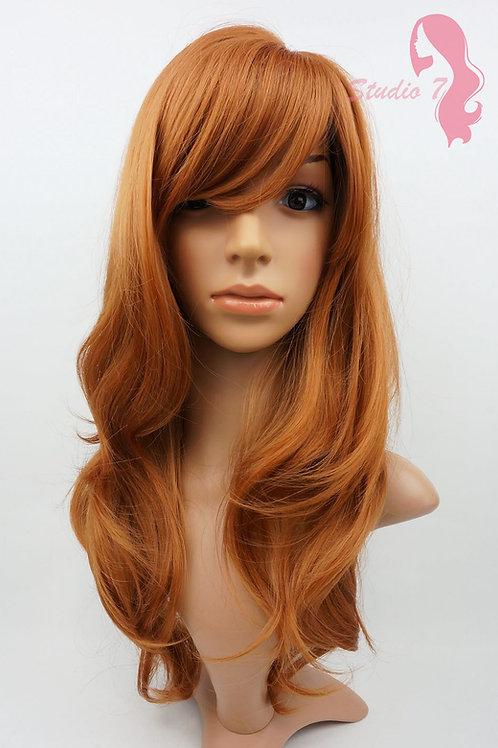 W86 Auburn Dark Ginger Long Wavy Layered