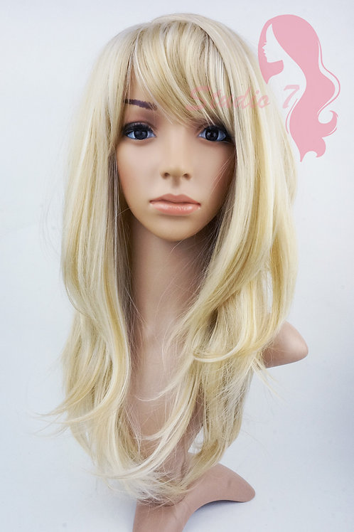 W140 Bleached Blonde Mix Long Wavy Layered