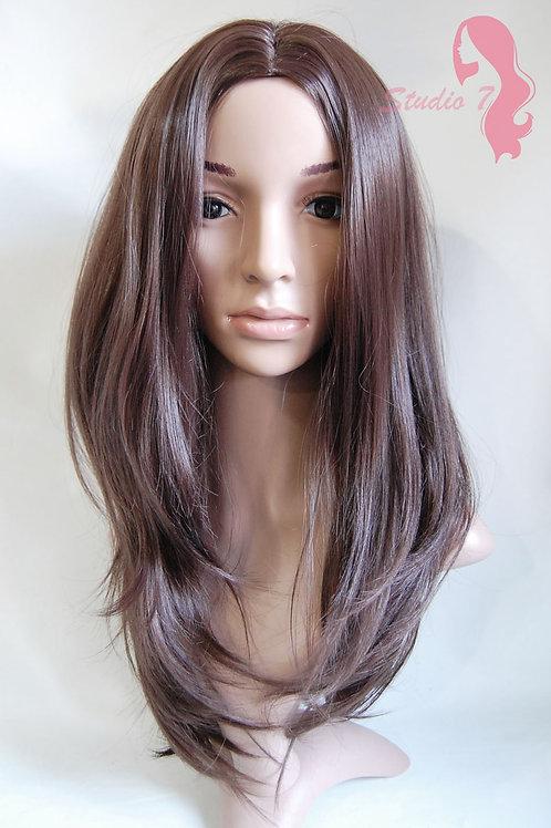 W67 Chocolate Brown Straight Long Wig