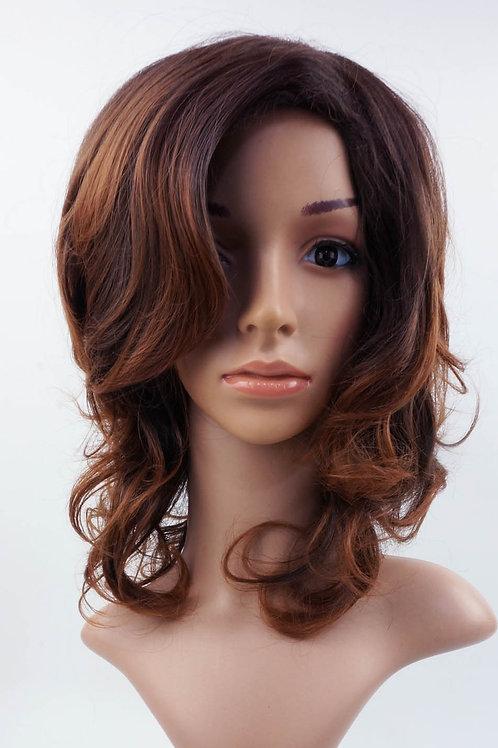 W17 Dark Brown Mix Wavy Medium Length Wig