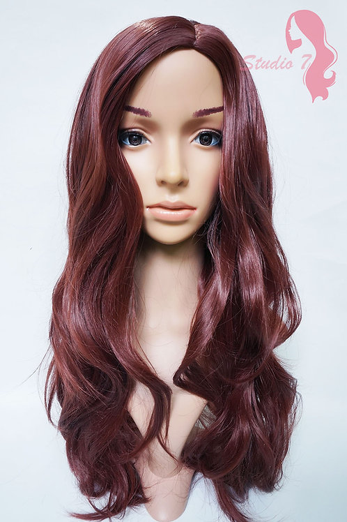 W37 Wine Red Brown Long Wavy Synthetic Wig