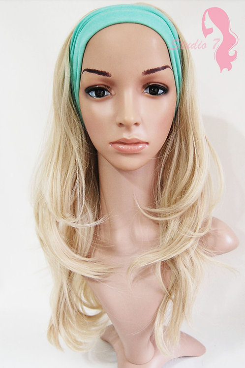 W55 Ash Blonde Wavy 3/4 Wig Clip In Hair Piece