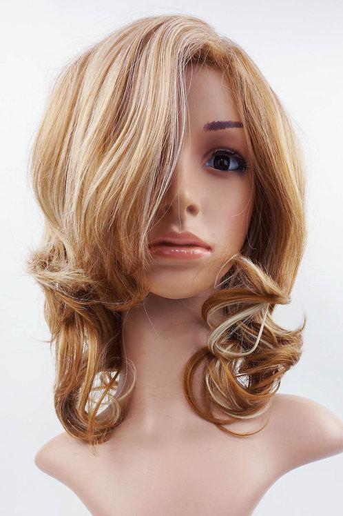 W16 Honey and Pale Blonde Mix Wavy Medium Length Wig