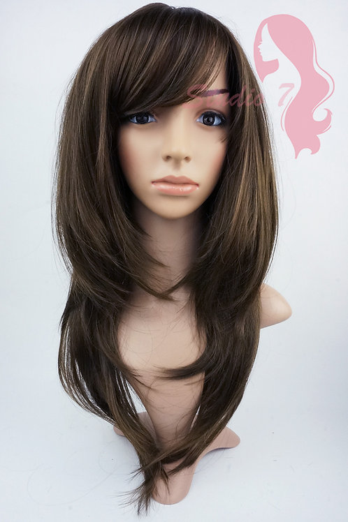 W151 Brown Long Layered Wig