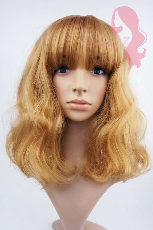 W155 Ginger Mid Length Wavy Straight Fringe