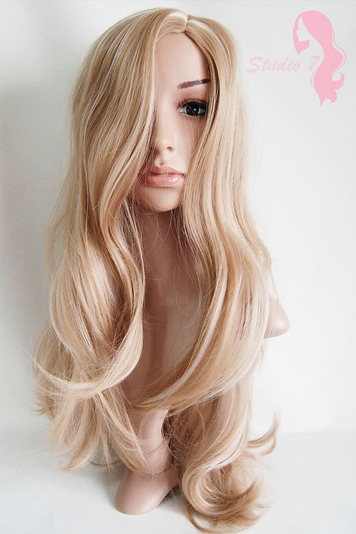 W35 Honey Blonde Mix Long Wavy Synthetic Wig