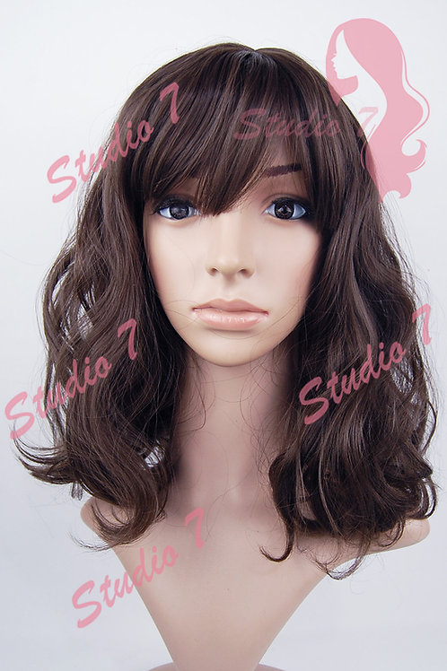W160 Brown Mid Length Wavy Straight Fringe  Wig