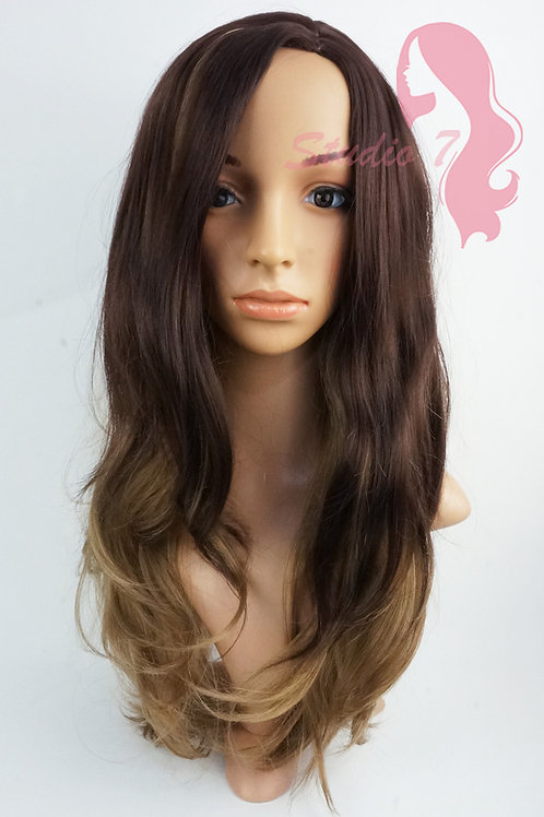 W118 Chocolate Brown Blonde Mix  Long Wavy Wig